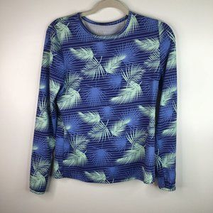 Hang Ten Shirt Blue Leaves Feathers